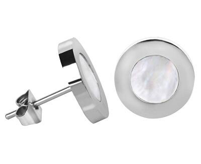 Ocelové náušnice s perleťovým středem Steel