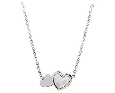 Ocelový náhrdelník s perleťovým srdíčkem