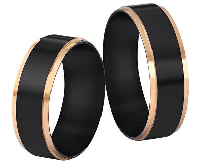 Ocelový snubní prsten černý/zlatý