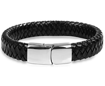 Pánský proplétaný náramek z černé kůže Leather