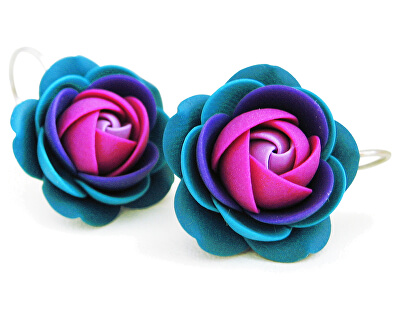Piros-lila lógó fülbevaló virágok