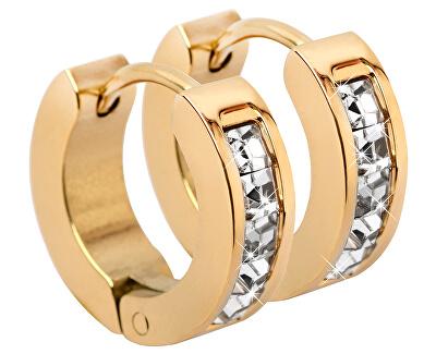Pozlacené ocelové náušnice kroužky s krystaly