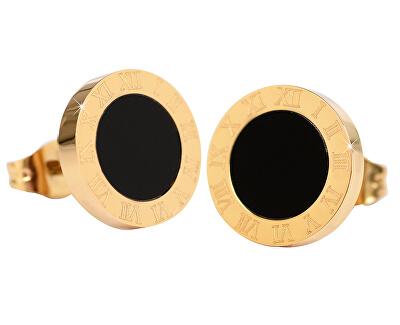Pozlátené oceľové náušnice s čiernym stredom KE-015