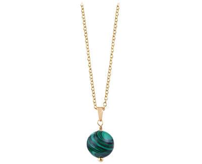 Pozlátený náhrdelník s malachitom