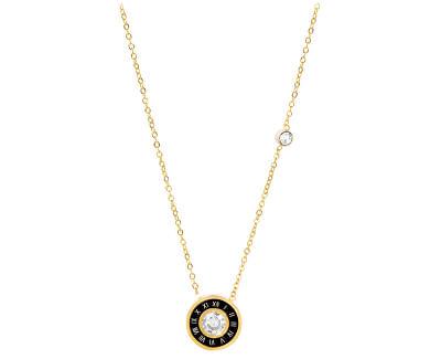 Troli Pozlacený náhrdelník se stylovým třpytivým přívěskem