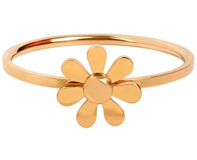 Troli Pozlacený ocelový prsten s kytičkou