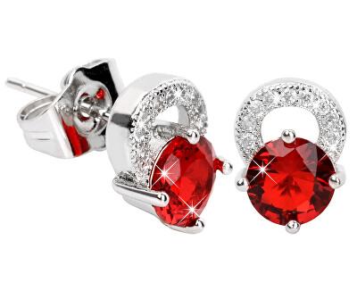 Překrásné třpytivé náušnice s červenými krystaly