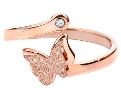 Troli Romantický bronzový prsten s motýlkem