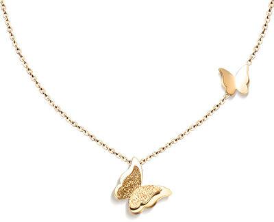 Pozlátený motýly náhrdelník Metal Butterfly KNSC-257-GOLD