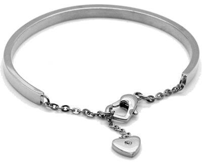 Romantický ocelový náramek se srdcem KBS-151-SIL
