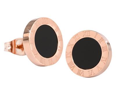 Ružovo pozlátené oceľové náušnice s čiernym stredom KE-015
