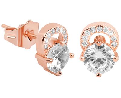 Růžově pozlacené třpytivé náušnice s čirými krystaly
