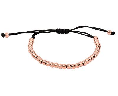 Růžově pozlacený kuličkový náramek z oceli s nastavitelnou délkou
