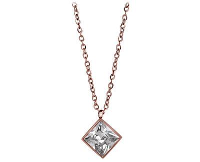 Růžově pozlacený ocelový náhrdelník s čtvercovým přívěskem