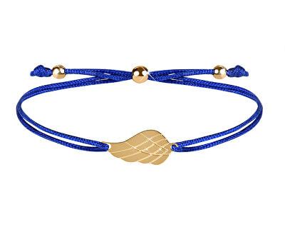 Šňůrkový náramek s andělským křídlem modrá/zlatá