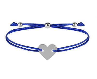 Šňůrkový náramek se srdcem modrá/ocelová