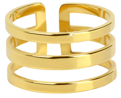 Inel stilat triplu din oțel placat cu aur