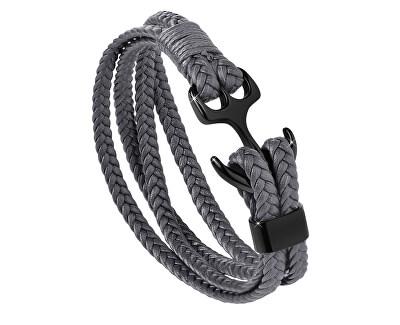 Tmavo šedý kožený náramok Kotva