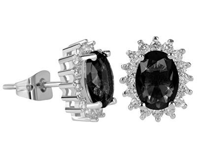 Třpytivé náušnice s černými krystaly