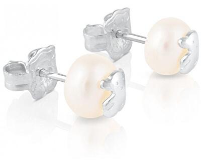 Náušnice z pravých perel s medvídkem 211140420