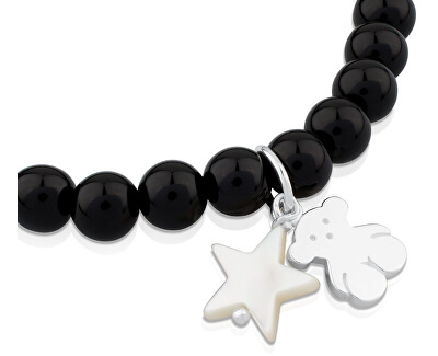 Brățară Onyx cu ursuleț de pluș și asterisc 515114570-M