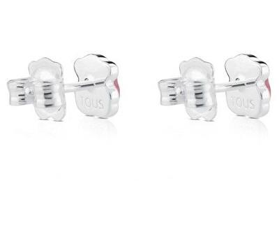 Stříbrné drobné medvídkové náušnice s rhodonitem 915433620