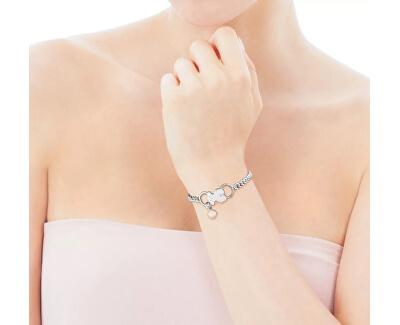 Stříbrný náramek s medvídkem a pravou perlou 512771530