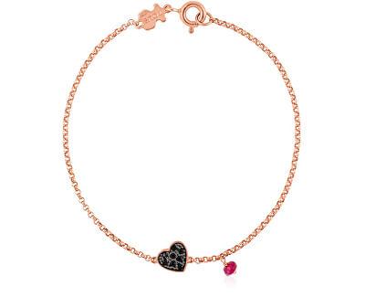 Růžově pozlacený náramek se srdíčkem a rubínem 314931510-M