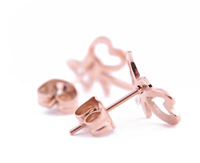 Krásné bronzové náušnice s designem mašliček Yumi Rose Gold