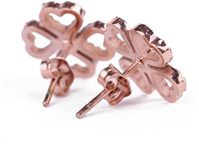 Moderní náušnice s krystaly Cloverleaf Rose Gold