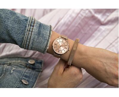 Luxusní růžově zlacený pevný náramek VB1063RG