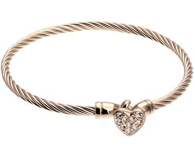 Brățară de bronz solidă cu inimă VB1093R