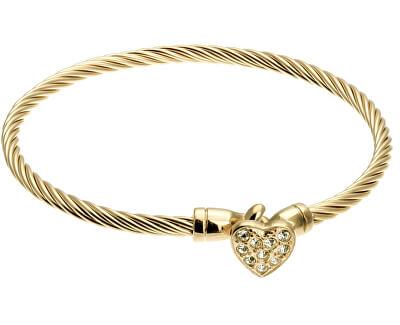 Brățară solidă placată cu aur cu inimioară VB1093G