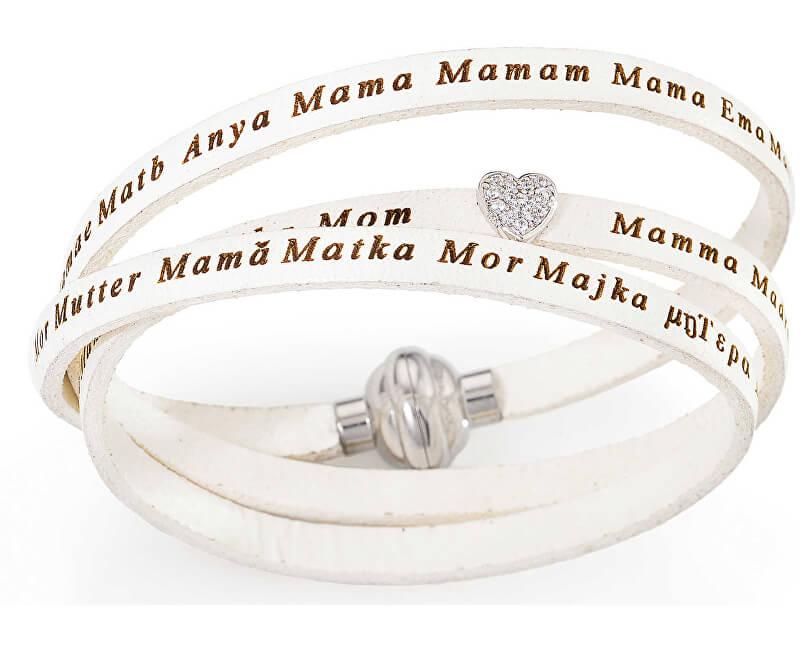 Amen Originální kožený náramek Mum`s Heart ASMA07