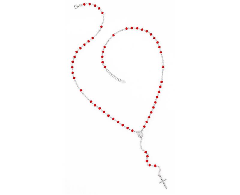 Amen Originální stříbrný náhrdelník s červenými krystaly Rosary CROBR4