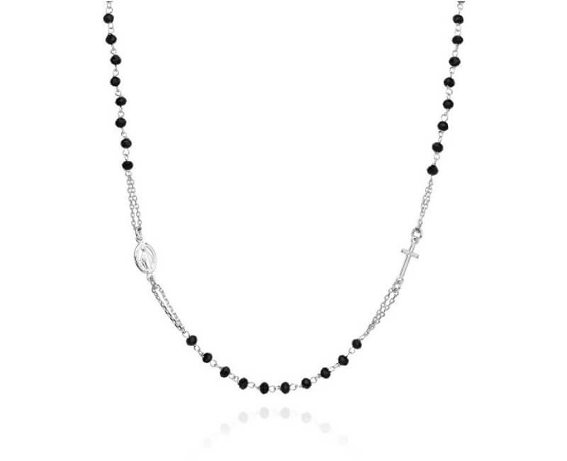 Amen Colier original din argint cu onyx Rosary CROBN3