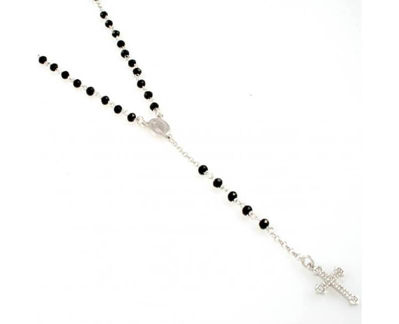 Amen Originální stříbrný náhrdelník s onyxy a zirkony Rosary CROBNZ4