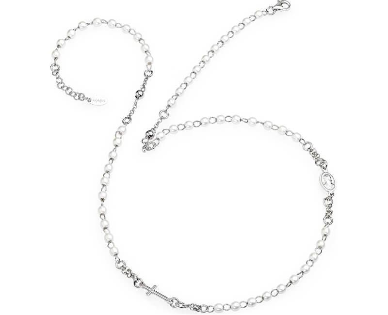 Amen Colier original din argint cu perle CROBB3 de rozariu