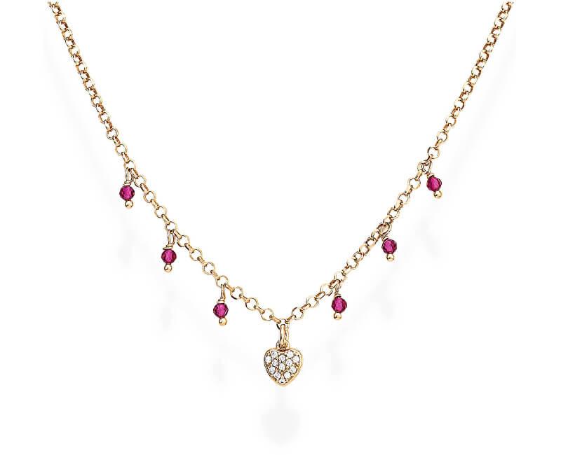 Amen Roz colț de argint placat cu aur și zirconi și cristale CLCRROZ romantice