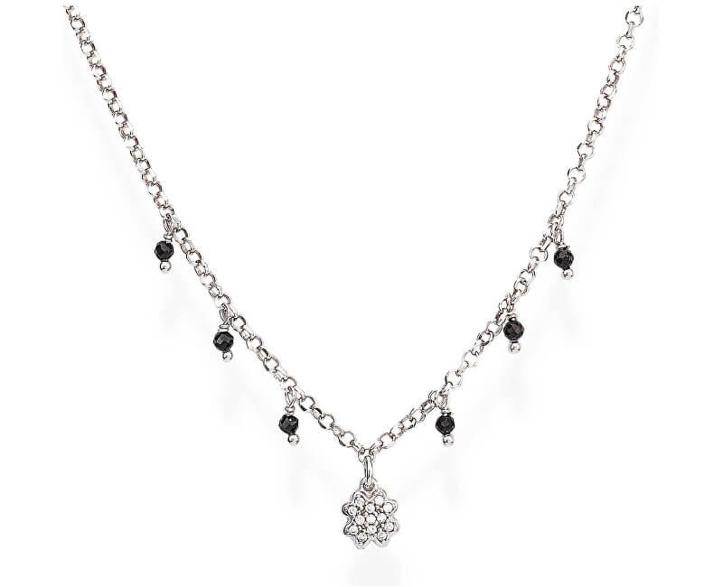 Amen Colier original de argint cu zirconi și cristale CLQBNZ romantice