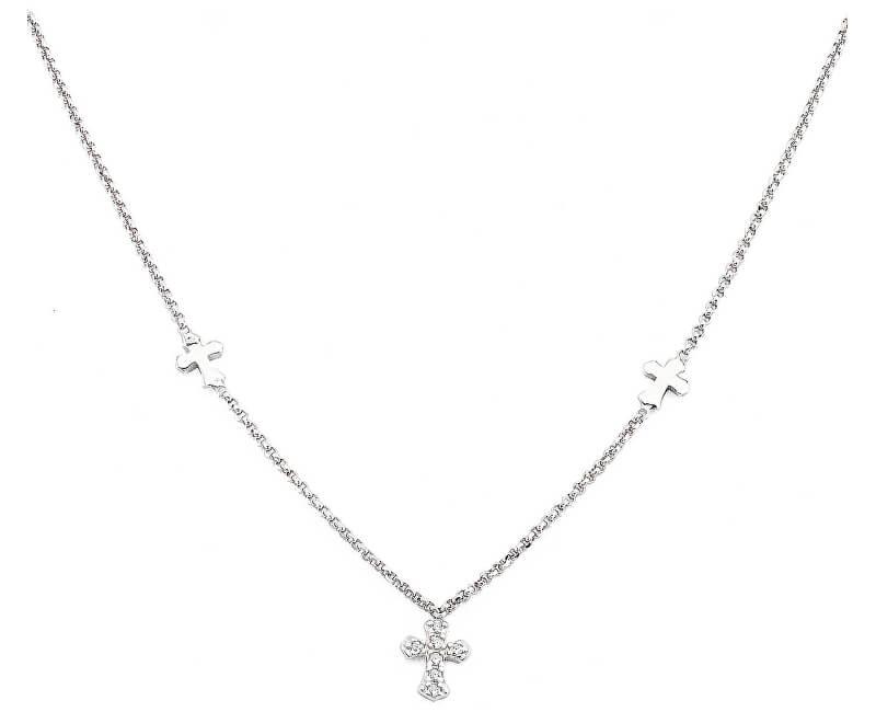 Amen Originální stříbrný náhrdelník se zirkony Pray, Love CLCCZB3