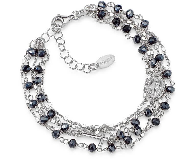 Amen Originální stříbrný náramek s krystaly Rosary BRMFBG