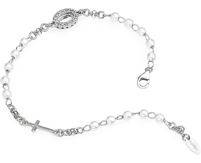 Amen Originální stříbrný náramek s perlami a zirkony Rosary BROBBZ-M3