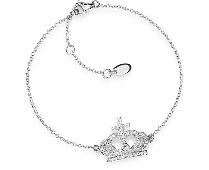 Amen Originální stříbrný náramek se zirkony Crowns BRC2