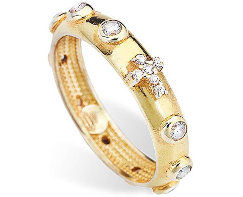 Amen Inel de argint placat cu aur cu zirconi Rosario AROGB