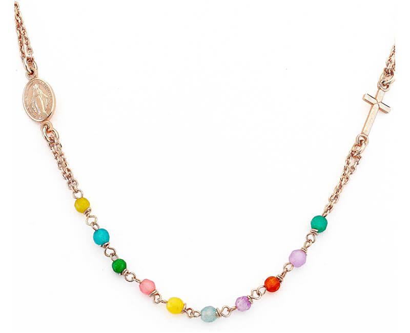 Amen Růžově pozlacený stříbrný náhrdelník s acháty Rosary CRORM3P