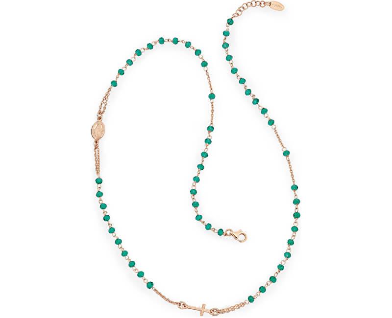 Amen Růžově pozlacený stříbrný náhrdelník s krystaly Rosary CRORV3