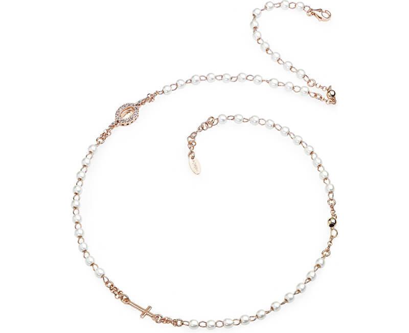Amen Pink aur placat cu argint colier cu rozariu CRORBZ-M3 perle
