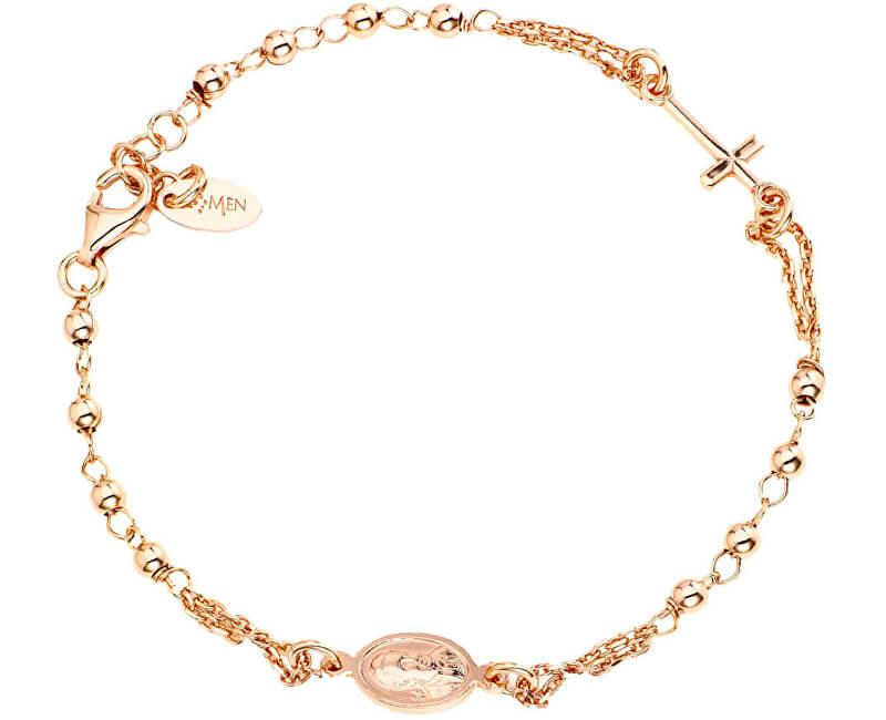 Amen Růžově pozlacený stříbrný náramek Rosary BROR3