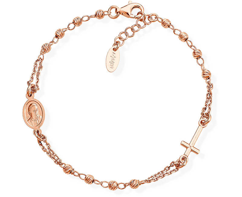 Amen Růžově pozlacený stříbrný náramek Rosary BRORD3